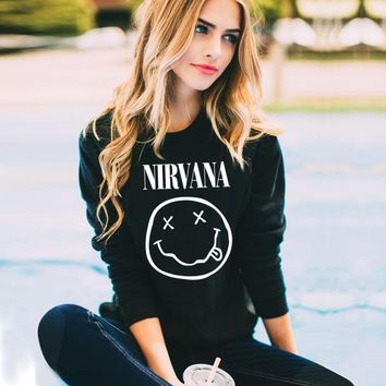 Black Hoodies Women Casual NIRVANA Letter Print