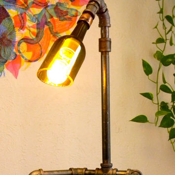 Industrial Pipe Lamp With Vintage Bulb and Wine Bottle Shade