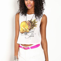 PINEAPPLE GRAPHIC CROPPED TOP