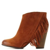 Rust Qupid Fringe Block Heel Booties by