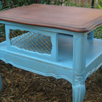 French Provincial End Table in Blue and Gold
