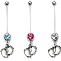 1Pcs Flexible Pregnancy Maternity Baby Feet Belly Button Bar Navel Ring Boy Girl = 1946971588