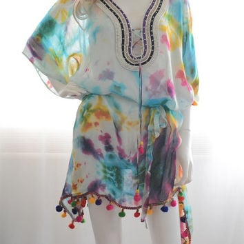 Aquarelle kaftan caftan dress multicolor boho dress Beach poncho beaded dress