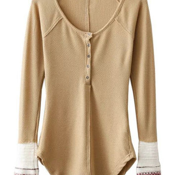 Khaki Button Up Contrast Ribbed Cuff Long Sleeve T-shirt