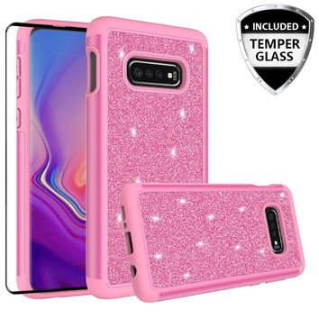 Samsung Galaxy S10 Lite Case, Galaxy S10 Lite Glitter Bling Heavy Duty Shock Proof Hybrid Case with [HD Screen Protector] Dual Layer Protective Phone Case Cover for Samsung Galaxy S10 Lite W/Temper Glass - Hot Pink