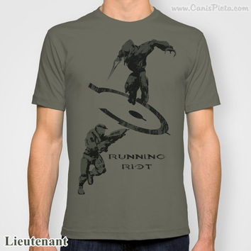 "Halo Legendary ""Running Riot"" Jersey T-Shirt Tee Shirt For Him Olive Drab OD Green Video Game Dude Men Guy Man Gamer Geek Elite Nerd"