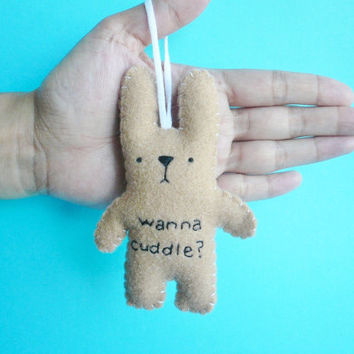 Christmas in July 20% OFF plush bunny ornament wanna cuddle, handmade Christmas ornament tree decoration cij