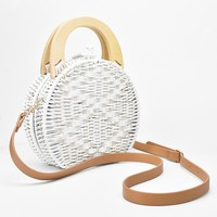 Sorrento White Rattan Camel Bag