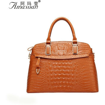 New Arrival Women High Quality Alligator Shell Women Leather Handbags Vintage Fashion Tote Women Shoulder Leather Bags BH1132