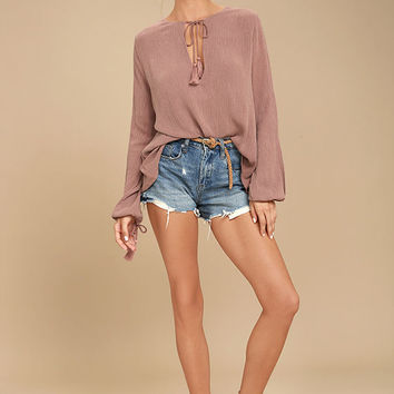 Shailene Mauve Long Sleeve Top