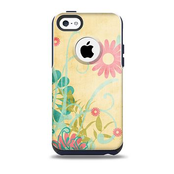 The Vintage Golden Flowers Skin for the iPhone 5c OtterBox Commuter Case