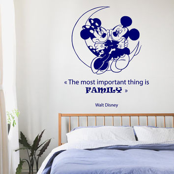 Family Wall Decals Disney Mouse on a Moon Wall Quotes Children Vinyl Sticker Baby Kids Wall Decor Love Art Girl Boy Nursery Room Decor KG656