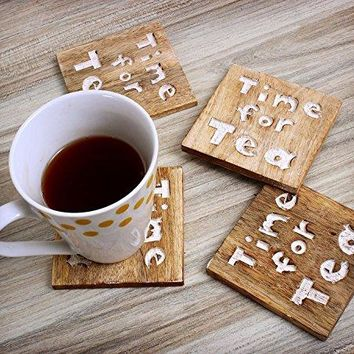 Set of 4 Handmade Wooden Coasters for Drinks Quotes Time for Tea Tea Coffee Mug Beer Glass Coaster Table Dining Accessories