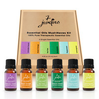 "7 Jardins ""Must-Haves"" Top 6 Essential Oils Aromatherapy Kit 100% Pure & Therapeutic Grade 10ml - Beginner Sampler Gift Set (Lavender French, Sweet Orange, Tea Tree, Eucalyptus, Peppermint & Lemongrass)"