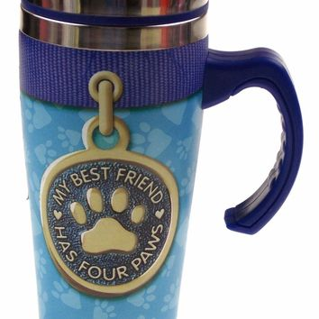 Coffee Travel Mug Blue Dog Best Friend Has Four Paws Puppy Stainless 16 oz Lid
