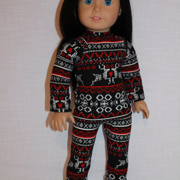 18 inch doll clothes, black and red fair isle print pajamas with matching handknit slippers, Christmas pyjamas, doll pjs,, Maplelea