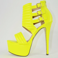 "Firey 8 Neon Yellow Leatherette Buckle Ankle Cuff Platform Shoe 6"" Heel 6-10"