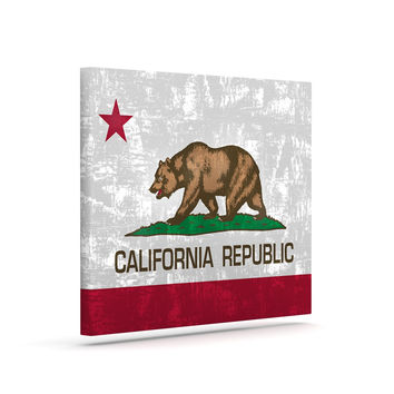 "Bruce Stanfield ""California Flag"" Gray Red Canvas Art"