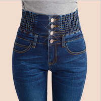 Women Slim High Waist Elastic Denim Jeans