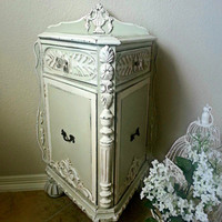 Antique, Ornate,  Hand Painted & Waxed Accent, Side, End Table or Nightstand