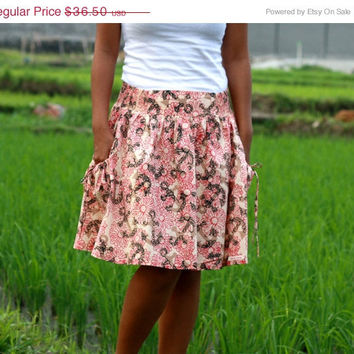 ON SALE Brown Anchor Skirt / Anchor Midi Skirt in Brown and Red Floral with Pockets / Ready to Ship