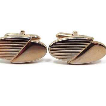 Vintage Cufflinks, Swank Cuff Links, Gold Tone Oval, Mid Century 1960s 60s, Hipster Jewelry, Mens Formal, Wedding Jewelry, Best Man Gift