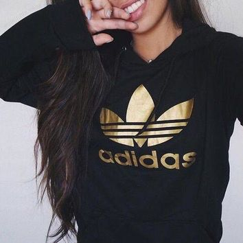 Adidas Originals Gold Logo Hooded Top Sweater Pullover Sweatshirt