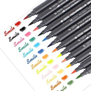 STA 12 Colors Set Artist Brush Set Sketch Marker Pens Water Based Ink Twin Tip Watercolor Marker Pen for Graphic Drawing Manga