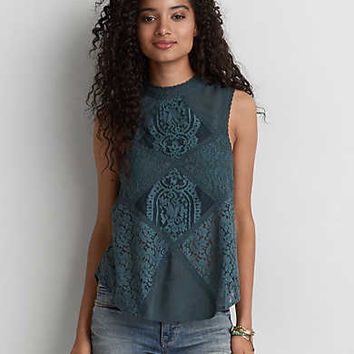 AEO Lace Panel Keyhole Tank, Teal