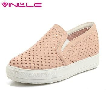 Round Toe Slip on Flat Heel Women Shoes Summer Cut Outs Breathable Casual Loafers Wome