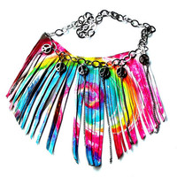 Give Peace a Chance TieDye Leather Fringe Bib Necklace by Beatniq