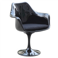 Black Flower Arm Chair with Black Cushion
