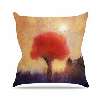 "Viviana Gonzalez "" Red Tree"" Yellow Purple Throw Pillow"
