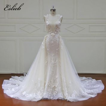 Eslieb Elegant Detachable Train Wedding Dresses Custom made Lace Pearls Sleeveless Mermaid Wedding Dress 2018 Vestido de Noiva