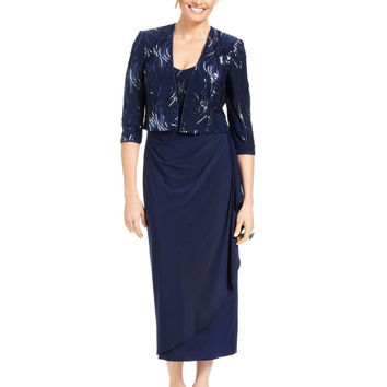 Alex Evenings Petite Sleeveless Sequin Faux-Wrap Dress and Jacket