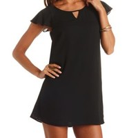 Keyhole Cut-Out Flutter Sleeve Shift Dress by Charlotte Russe - Black