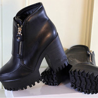 New Vingtage Womens Punk Goth Platform Chunky Heels Side Zip Ankle Boots Shoes