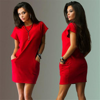 Summer 2016 Sexy Women's Casual Batwing Short Sleeve Pockets Mini Shirt Red O-Neck Dress