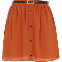 Brown button through belted mini skirt