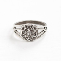 Vintage Sterling Silver Girl Scout Eagle Motif Ring - Size 7 1/2 GSA Girl Scouts of America Hallmarked OB Ostby & Barton Filigree Jewelry