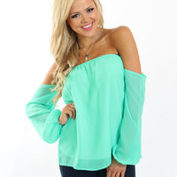 Sweet Dream'in Blouse Turquoise Green - Modern Vintage Boutique