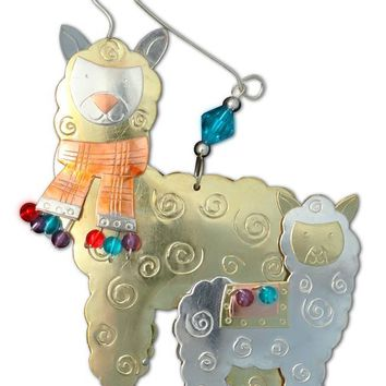 Whimsical Mom and Cria Alpaca Ornament