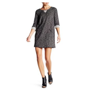 BB Dakota Black Errol Spacedye Knit Sweatshirt Dress