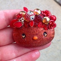 Copper Red Goldfish Sparkle Hello Kitty Embellished Resin Cabochon