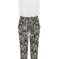 Women's Sexy Sleeveless Jumpsuit Floral Pattern Harem Long Pants Romper
