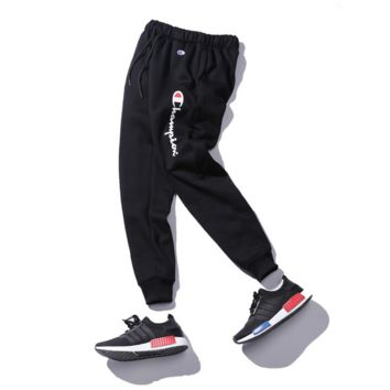 Autumn and winter tide brand trousers trousers plus velvet cashmere basketball leisure sports foot pants Black