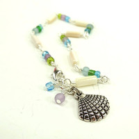 Mother of Pearl Anklet White Green Blue Purple Silver Seashell Charm Ankle Bracelet