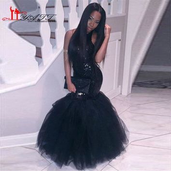 Africa Style Black Sexy Mermaid Prom Dresses Halter Neck Sequins Sparkly Backless Evening Gown Cheap Pageant Gown Robe de soiree