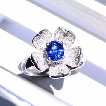 Oval Cut 1CT Natural Royal Blue Sapphire Sri Lanka Gemstone 18k White Gold Diamond Accents Engagement Ring (CFGR0013)