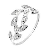 Sterling silver and cubic zirconia trailing leaves ring - Silver Rings - Silver Jewellery